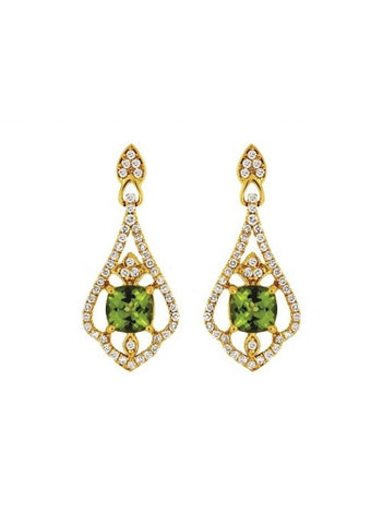 Royal Jewellery 14K Yellow Gold Diamond & Peridot 1.08ct Earrings