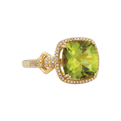 Royal Jewellery 14K Yellow Gold Diamond & Peridot 4.20ct Ring