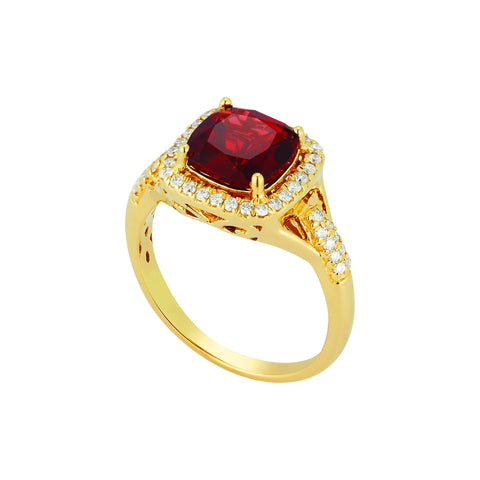 Royal Jewellery 14K Yellow Gold Diamond & Rhodolite Garnet 2.55ct Ring