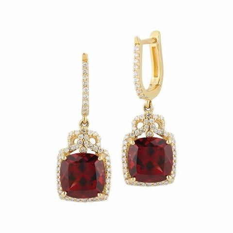 Royal Jewellery 14K Yellow Gold Diamond & Rhodolite Garnet 4.80ct Earrings