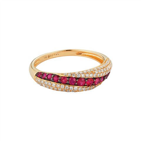 Royal Jewellery 14K Yellow Gold Diamond & Ruby 0.38ct Ring