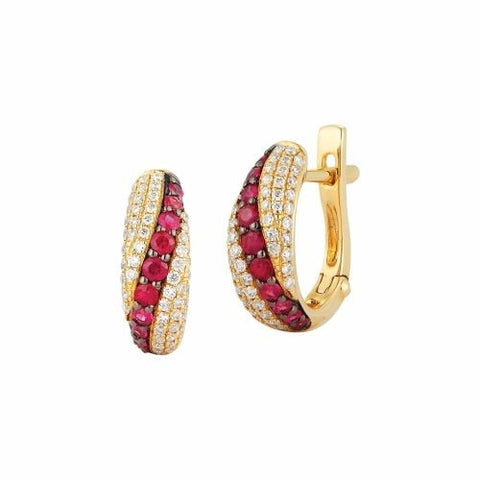 Royal Jewellery 14K Yellow Gold Diamond & Ruby 0.45ct Earrings
