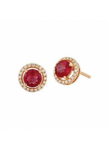 Royal Jewellery 14K Yellow Gold Diamond & Ruby 0.94ct Earrings