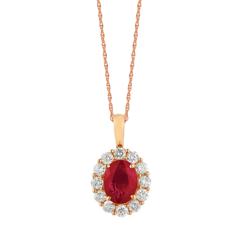 Royal Jewellery 14K Yellow Gold Diamond & Ruby 1.25ct Pendant