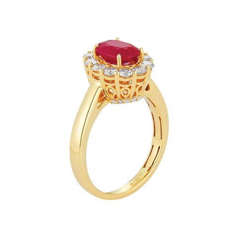 Royal Jewellery 14K Yellow Gold Diamond & Ruby 1.25ct Ring