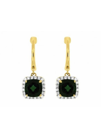 Royal Jewellery 14K Yellow Gold Diamond & Russalite 2.00ct Earrings
