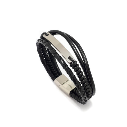 SANTO Mens Black Leather Multi Strand ID Bracelet LSA070