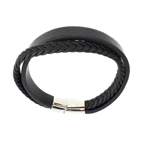 SANTO Mens Black Leather Two Strand Bracelet LSA027