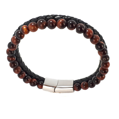 SANTO Mens Bracelet Black Leather and Red Tigers Eye Double Strand LSA041