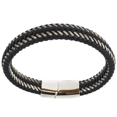 SANTO Mens Bracelet Black Leather and Stainless Steel LSA001