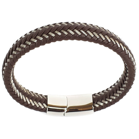 SANTO Mens Bracelet Brown Leather and Stainless Steel LSA002