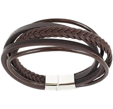 SANTO Mens Bracelet Five Strand Brown Leather and Stainless Steel LSA005