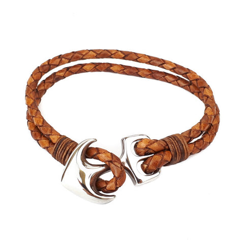 SANTO Mens Bracelet Tan Leather and Stainless Steel Anchor LSA036