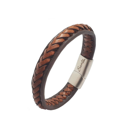SANTO Mens Bracelet Tan Leather Solid Edge LSA066