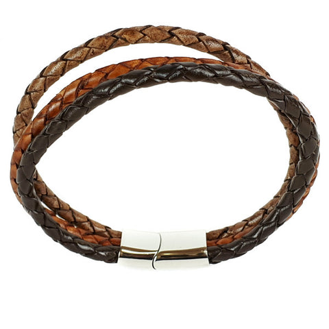 SANTO Mens Bracelet Three Strand Three Tone Brown Leather with Stainless Steel Clasp LSA018