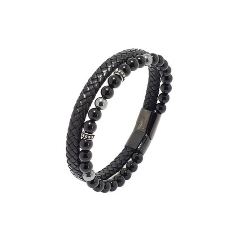 SANTO Mens Onyx, Haematite and Black Leather Double Strand Bracelet LSA061