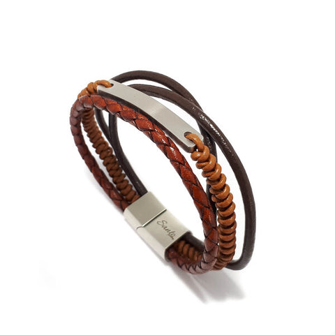 SANTO Mens Tan Leather Multi Strand ID Bracelet LSA072