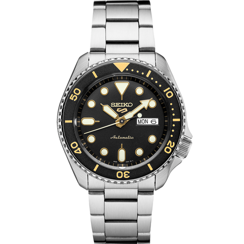 Seiko 5 Automatic Gents Watch SRPD57K1 Black Dial Yellow Highlights