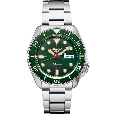 Seiko 5 Automatic Gents Watch SRPD63K1 Green Dial Stainless Strap