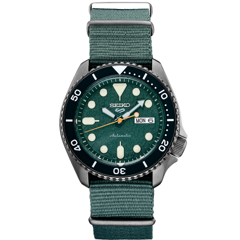 Seiko 5 Automatic Gents Watch SRPD77K1 Gunmetal IP Green Dial & Nylon Strap