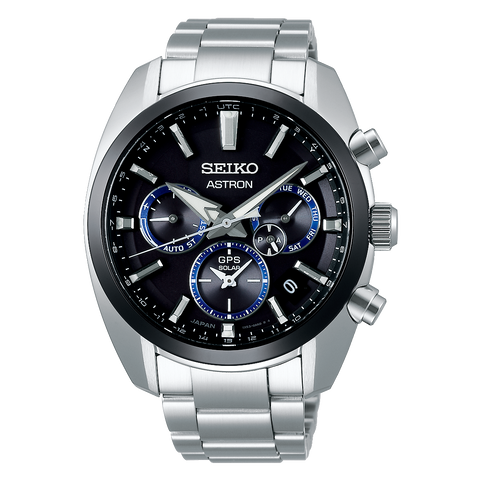 Seiko Astron SSH053J1 Black Dial Stainless Steel GPS Solar Watch
