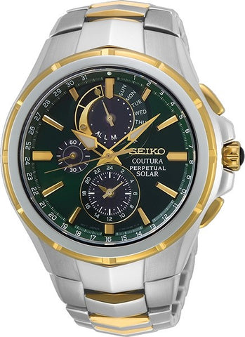Seiko Gents Perpetual Chronograph Watch Coutura SSC764P Green Dial