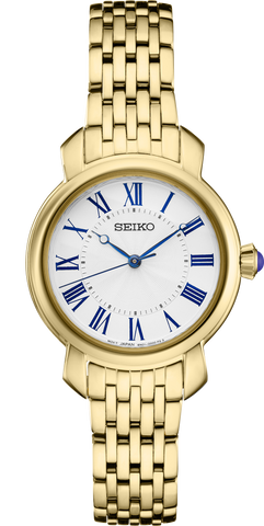 Seiko Ladies Watch Blue Markers Gold Tone Stainless Steel Strap SUR626P