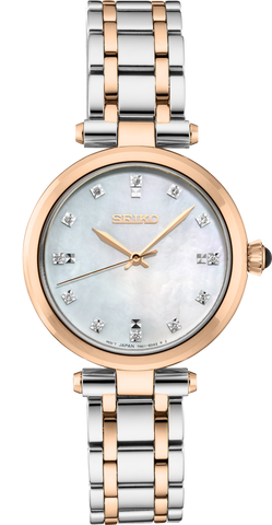 Seiko Ladies Rose Gold Stainless Steel Diamond Set Watch SRZ534P
