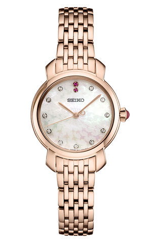 Seiko Ladies Rose Plated Stainless Steel Watch SUR624P