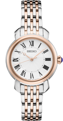 Seiko Ladies Watch Silver and Rose Gold Stainless Steel Strap SUR628P