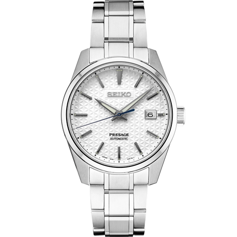 Seiko Presage 'Sharp Edge' Automatic Watch White Textured Dial SPB165J