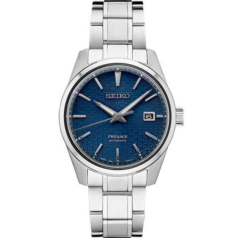 Seiko Presage 'Sharp Edge' Automatic Watch Blue Textured Dial SPB167J