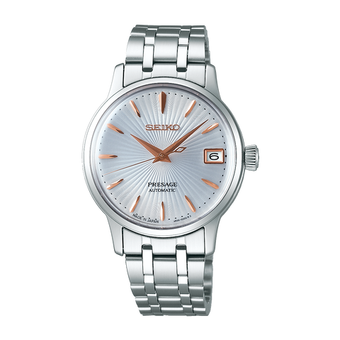 "Seiko Ladies Presage Automatic Watch ""Cocktail Time"" Silver Dial SRP855J"
