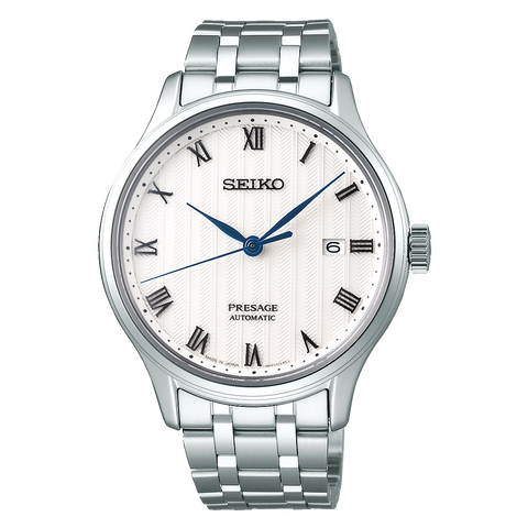Seiko Presage Automatic Stainless Steel Watch With Blue Hands SRPC79J
