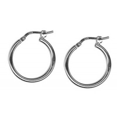 Small silver hoops 15mm