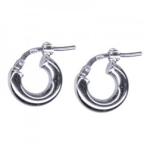Thick mini silver hoops 8mm