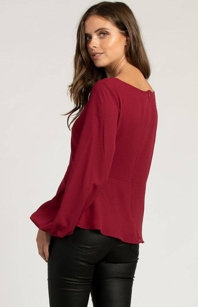 Round Neck Blouse With Bobble Sleeves