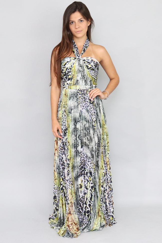 Elisa Marie Pleasted Knot Tie Maxi Dress