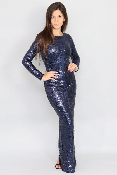 Kalinda Long Sleeve Sequin Cutout Back