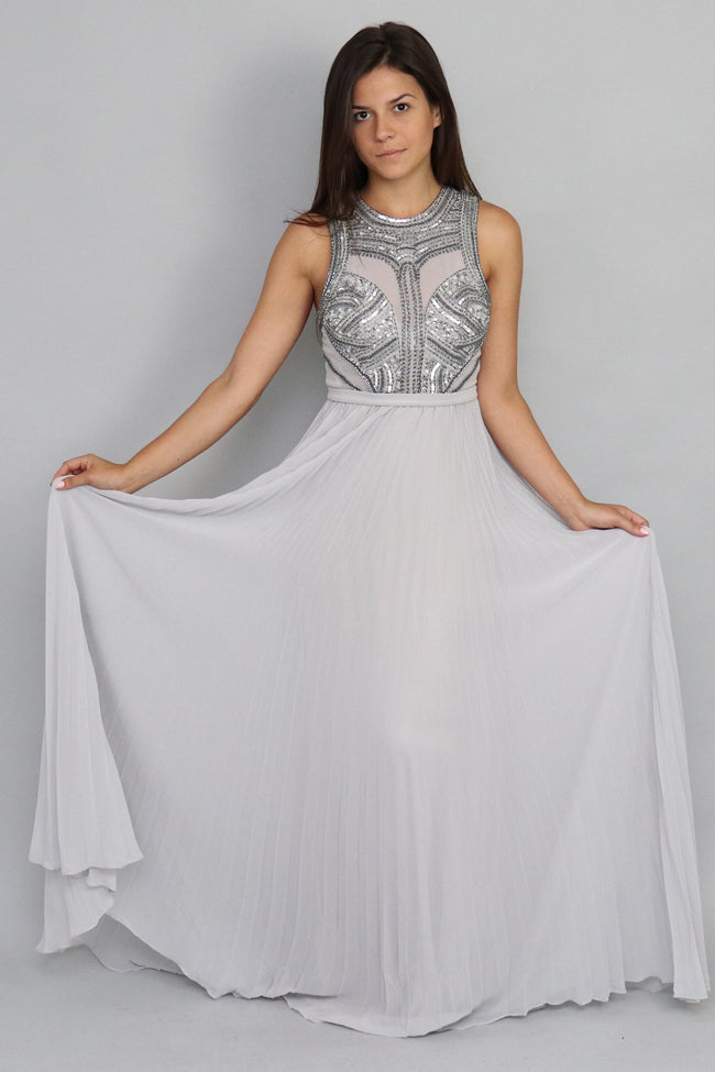 Chifon Pleated Silver Gown