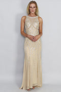 Clara Cross Hatch Beaded Gown