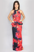 Charlize Peplum Print Dress Maxi