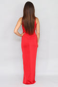 Twist Front Maxi Red Dress