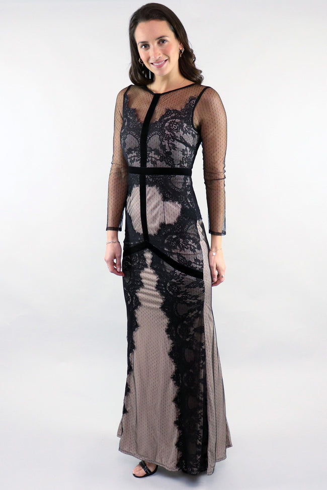 Black On Nude mesh Gown