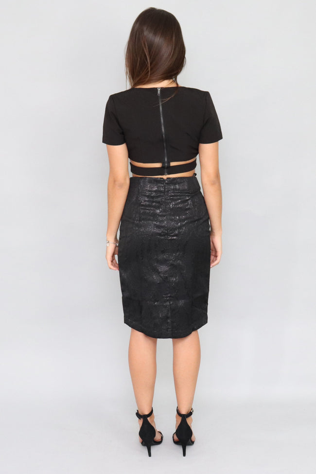Felicia Jacquard Pencil Skirt