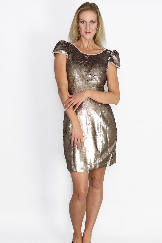 Copper Sequin Mini Dress