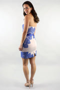 Julie Strapless Lace Applique Blue Cocktail Dress