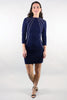 Nicole 3/4 Sleeve Chain Trim Navy Dress