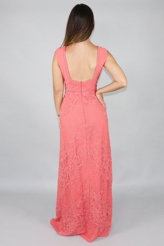 Tricia Plunging Lace Detailed maxi Dress