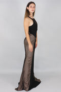 Jemma V-Neck Lace Panelled Gown